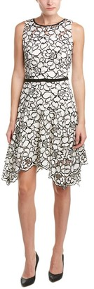 Taylor Dresses Women's Hankie Hem Lacey Applique Fit and Flare