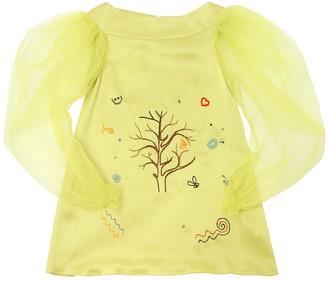 Nikolia Garden Embroidered Silk Satin Dress