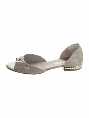 Chanel Patent Leather Studded Accents Sandals Grey