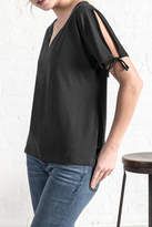 Lilla P Split Sleeve V Neck Top