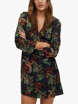 Thumbnail for your product : MANGO Oriental Print Flared Mini Dress, Black/Multi