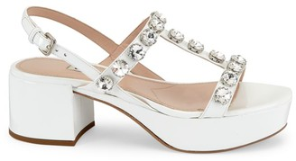 Miu Miu Jewelled Patent Leather Slingback Platform Sandals