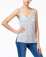 Ultra Flirt Juniors' Printed High-Low Tank with Strappy Bralette