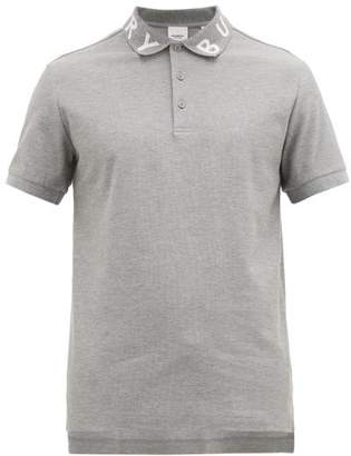 Burberry Ryland Logo-jacquard Cotton-pique Polo Shirt - Mens - Grey