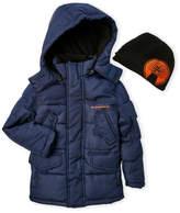Weatherproof Boys 4-7) Two-Piece Hooded Puffer Jacket & Beanie Set