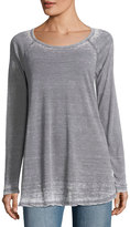 Allen Allen Raglan Heathered Jersey Top