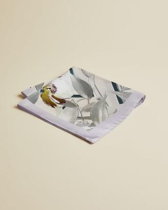 Ted Baker Geo Floral Print Silk Pocket Square