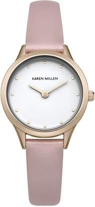 Karen Millen Women's SKM001P Quartz Watch with White Dial Analogue Display and PU Strap