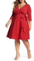 Sangria Plus Size Women's Fit & Flare Wrap Dress