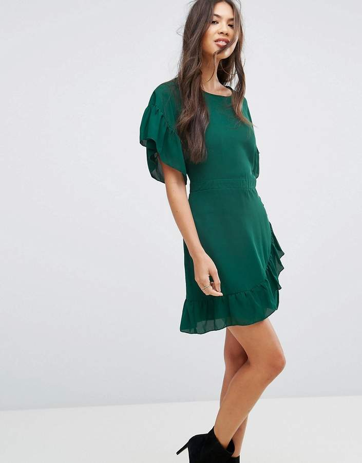 Missguided Chiffon Frill Sleeve Mini Dress
