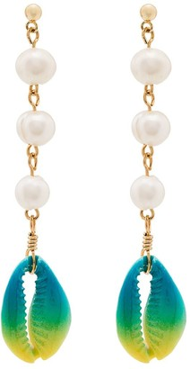 Venessa Arizaga Shell And Pearl Drop Earrings