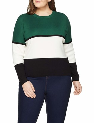 New Look Curves Women's Birdie Colourblock6079265 Jumper Green Size S