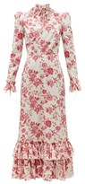 The Vampire's Wife The Cinderella Floral-print Cotton-crepe Dress - Womens - Red White