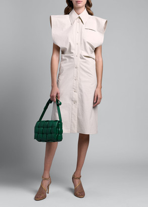 Bottega Veneta Dramatic Cap-Sleeve Button Front Shirtdress