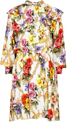 Boutique Moschino Floral-print Ruffle-trimmed Mini Dress