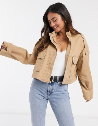 ASOS DESIGN slouchy lightweight cropped jacket in stone