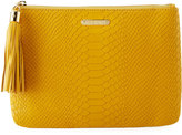 GiGi New York All-In-One Snake-Embossed Clutch Bag, Yellow