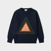 Paul Smith Boys' 7+ Years Navy 'Triangle' Intarsia Wool-Cotton Sweater