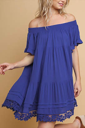Blu Heaven Ruffle Off-Shoulder Dress