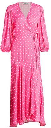 Essentiel Antwerp Vundamental Polka Dot Maxi Wrap Dress