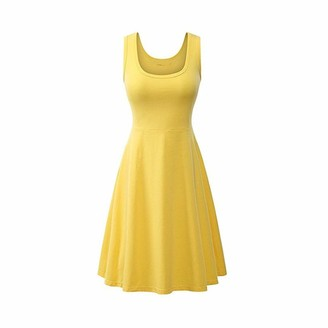 FYMNSI Women Summer Sleeveless Tank Dress U-Neck Solid Plain Colour Fit and Flare A-line Midi Swing Sundress Casual Party Beach Holiday Clothes Yellow XL