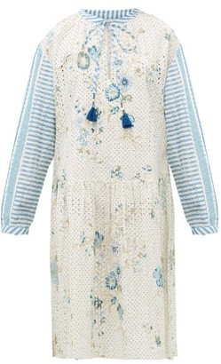 D'Ascoli Napeague Broderie-anglaise Cotton-khadi Dress - Womens - Blue