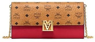 MCM Mena Visetos Leather Block Flap Wallet On Chain