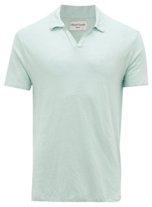 Officine Generale Simon Linen-jersey Polo Shirt - Light Green