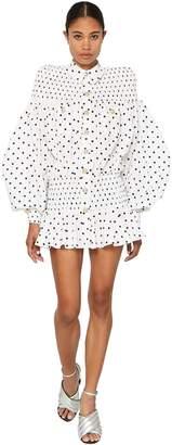 Balmain Polka Dot Cotton Poplin Mini Dress