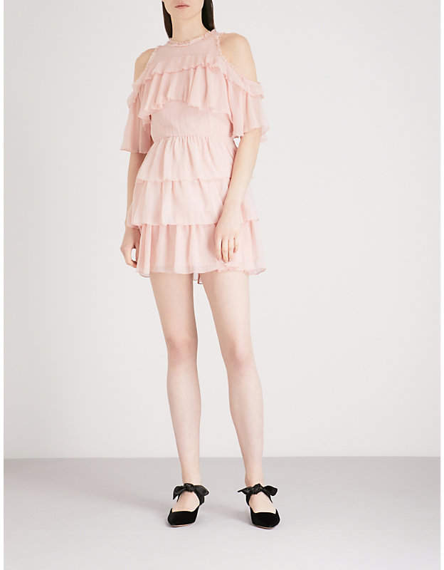 Alice + Olivia Alice & Olivia Nichola cold-shoulder silk-chiffon mini dress