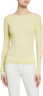 Vince Striped Rib Boat-Neck Top