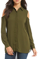 Chelsea & Theodore Cold Shoulder Button Front Shirt