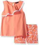 Nautica Big Girls' Sleeveless Knit Top with Leaf Print Woven Short Set