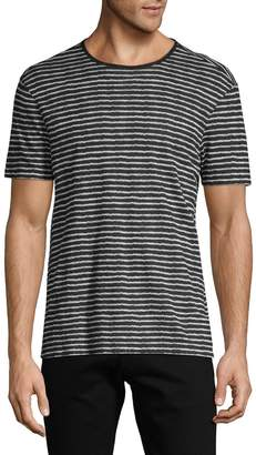 John Varvatos Striped Linen-Blend Tee