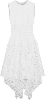 Costarellos Asymmetric Broderie Anglaise Cotton Dress