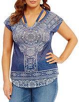 Blu Pepper Plus Knit V Neck Short Sleeve Top