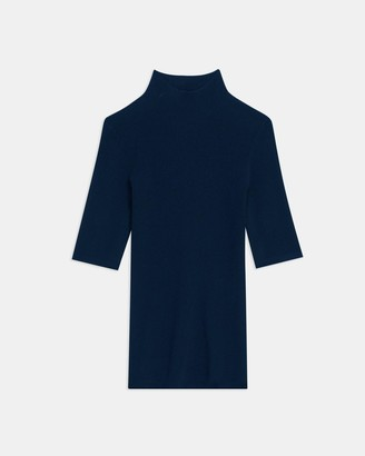 Theory Short-Sleeve Turtleneck in Compact Crepe