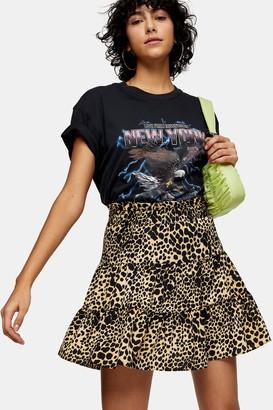 Topshop Womens Camel Shirred Animal Print Mini Skirt - Camel