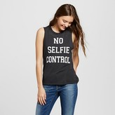 Fifth Sun Women's No Selfie Control Graphic Muscle Tank Black Juniors')