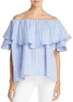 MLM Label Maison Gingham Off-the-Shoulder Top