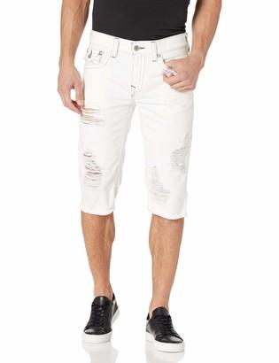 True Religion Men's Cut Off Straight Leg Short with Back Flap Pocket