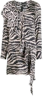 Just Cavalli asymmetric animal print dress