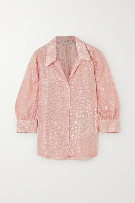 Stella McCartney Metallic Fil Coupe Silk-blend Shirt - Pink