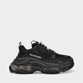 Balenciaga Triple S Clear Sole Sneakers In Black