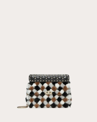 Valentino Medium Rockstud Spike.it Multicolored Mink Bag Women Black OneSize
