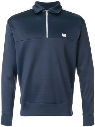 Ami Paris Bicolor Sweatshirt With Polo Collar