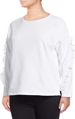 Lord & Taylor Plus Ruffle Sleeve Sweatshirt