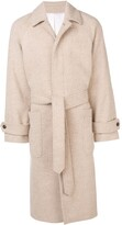 Ami Paris Raglan Sleeves Belted Long Coat