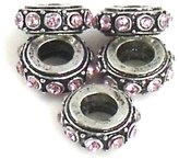 Athena Jewelry Smokey Crystal Bead Spacers 5 Fits European Style Bracelets