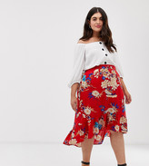 AX Paris Plus floral dip hem skirt